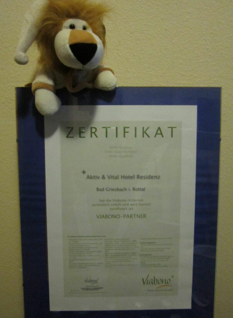 """Zertifikat """"Viabono"""" AktiVital Hotel"""